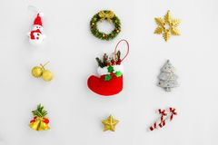Christmas Background with decorations on white paper stock photo