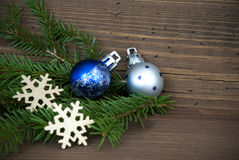 Christmas Background with Decorations on Wood Royalty Free Stock Photography