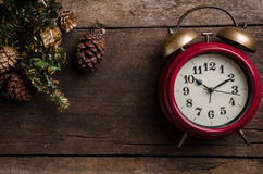 Christmas background with decorations on wooden panel Royalty Free Stock Images