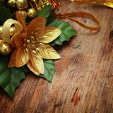 Christmas background with decoration. S on wooden table Royalty Free Stock Photos