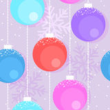 Christmas background with decorative balls, vector. Christmas and Happy New Year seamless pattern with decorative balls, vector vector illustration