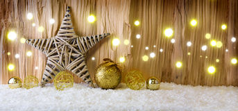 Christmas background with decorative star,Christmas balls  and light. Royalty Free Stock Photography
