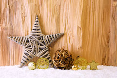 Christmas background with decorative star,Christmas balls and snow. Royalty Free Stock Photos