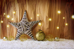 Christmas background with decorative star,Christmas balls and snow. Stock Images