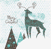 Christmas background with deer Stock Image