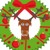 Christmas background with deer. And wreath Stock Illustration