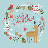 Christmas background.  Deer with hares and birds. Royalty Free Stock Image