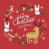 Christmas background.  Deer with hares and birds. Stock Photos