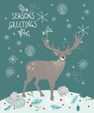 Christmas background with deer and snowflakes Stock Photography