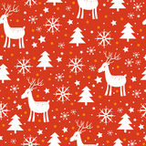 Christmas background with deer and snowflakes Stock Photo