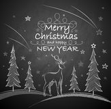 Christmas background with deer Royalty Free Stock Photo