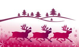 Christmas background with deers Royalty Free Stock Photography