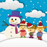 Children playing on the winter. Christmas background design. Stock Photo