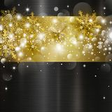 Christmas background design of bokeh light and snowflake Royalty Free Stock Images