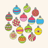 Christmas background design with decoration balls elements. Stock Photo