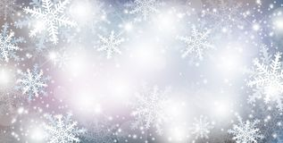 Christmas background design of falling snowflake and snow Royalty Free Stock Photos