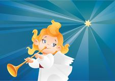 Kid angel musician  flying on a night sky, making fanfare call. Christmas background design with fanfareist angel musician. Happy smiling cute cartoon kid play Stock Image