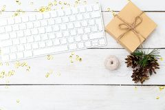 Christmas background. Desktop with keyboard and Christmas decora. Tions royalty free stock photos