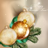 Christmas background  with detailed baubles and fir tree branche Stock Image