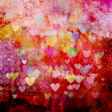 Christmas background with different colorful heart shapes Royalty Free Stock Images
