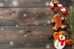 Christmas background. Different shapes of gingerbread cookies an stock photo