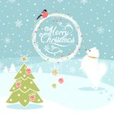 Christmas Background with  Dog and  Bullfinch. And Christmas tree Royalty Free Stock Photos