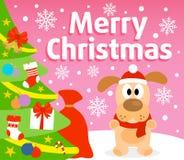 Christmas background with dog Stock Image
