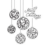 Christmas background with doodle ball, Handwritten Lettering MER Stock Images