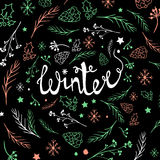 Christmas background with doodle icons. Vector design concept Royalty Free Stock Images