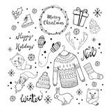 Christmas background with doodle icons. Royalty Free Stock Photos