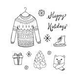 Christmas background with doodle icons. Stock Photos