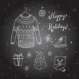 Christmas background with doodle icons. Stock Images