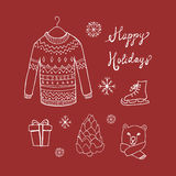 Christmas background with doodle icons. Royalty Free Stock Photography