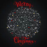 Christmas background. With doodles and handwritten text `Merry Christmas Stock Images