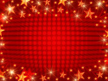 Christmas background with dots. Red christmas background with stars, lights and dots Stock Images