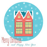 Christmas background with Dutch house and. Merry Christmas card in blue background with snowflakes. Hand drawn Dutch house with snow covered facades in vector Stock Image