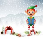 Christmas background with elf holding gift box Royalty Free Stock Photography