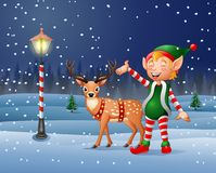 Christmas background with an elf and reindeer Royalty Free Stock Image