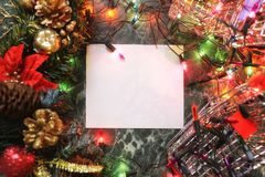 Christmas background blank paper and decoration with garland. Christmas background empty blank paper and decoration with garland Stock Images