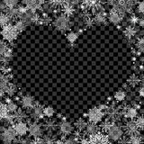 Christmas background with an empty heart in the center transpare. Nt black Stock Photography