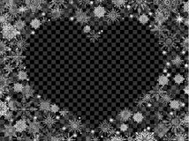 Christmas background with empty heart in center transparent blac. K Royalty Free Stock Images