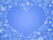 Christmas background with empty heart in center transparent blue.  Royalty Free Stock Images