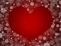 Christmas background with empty heart in center transparent red.  Royalty Free Stock Images