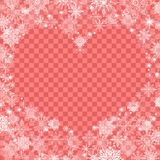 Christmas background with an empty heart in the center transpare. Nt red Royalty Free Stock Images