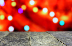 Christmas background with empty old dark wooden desk table. Stock Images