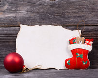 Christmas background with empty vintage paper and decoration Royalty Free Stock Photos