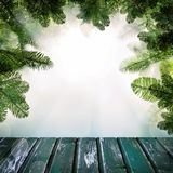 Christmas Background with Empty Wooden Deck Table stock image