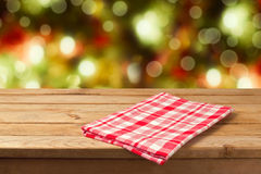 Christmas background empty wooden table with tablecloth for product montage display