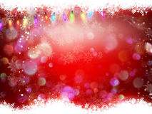 Christmas background. EPS 10. Christmas background of dark red with top and bottom border of sparkly gold glitter with glittery snowflakes. EPS 10 vector file Stock Images