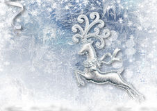 Christmas background with fairy reindeer and snow Royalty Free Stock Photos